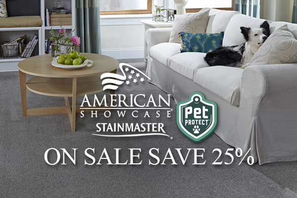 American Showcase Stainmaster Pet Protect On Sale!  Save 25%!