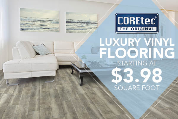COREtec® Luxury Vinyl Flooring starting at $3.98 sq.ft. this month at Abbey Capitol Floors & Interiors in Olympia!