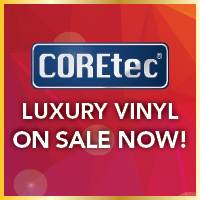 COREtec luxury vinyl flooring on sale now during our Gold Tag Flooring Sale